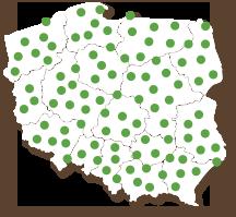 Mapa polski z zaznaczonymi bankomatami