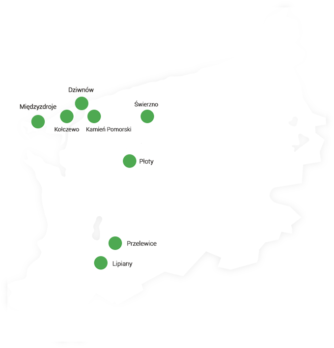 Mapa zachodniopomorskiego z zaznaczonymi miejscami bankomatów